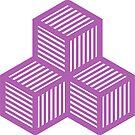 Geometric Pattern: Cube Stripe: Purple by * Red Wolf