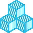 Geometric Pattern: Cube Stripe: Blue by * Red Wolf