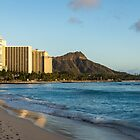 Golden Bliss on the Beach - Waikiki and Diamond Head Volcano by Georgia Mizuleva