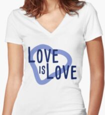 Love Is Love, Everyone can love blue heart tshirt Women's Fitted V-Neck T-Shirt