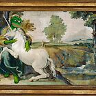 Medieval Unicorn And Girl Pepe Title The Frog Domenichino Unicorn Pal Farnese by Unknown Fine Art Print Rare PepeTheFrog Vintage Kekistani Renaissance painting girl with unicorn by iresist