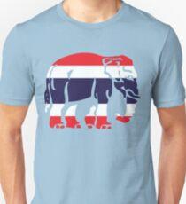 Asian Elephant Crossing Thai Flag Traffic Sign Unisex T-Shirt