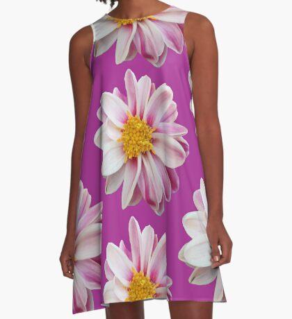 tolles Blütendesign in weiß / pink A-Linien Kleid