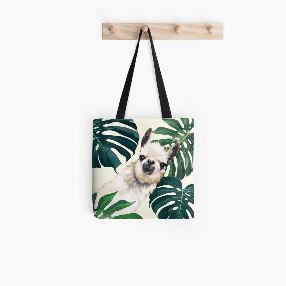Sneaky Lama im tropischen Monstera Tote Bag