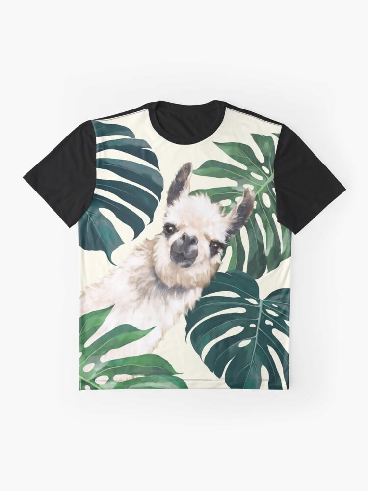 Alternative Ansicht von Sneaky Lama im tropischen Monstera Grafik T-Shirt