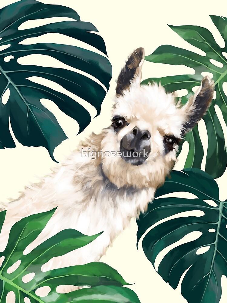 Sneaky Lama im tropischen Monstera von bignosework