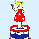 Happy Labor Day Patriotic Lady on a Cake by KateTaylor