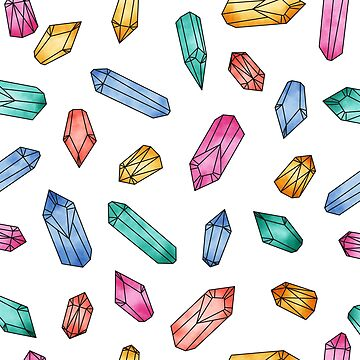 Crystals pattern - White by PrintablesP