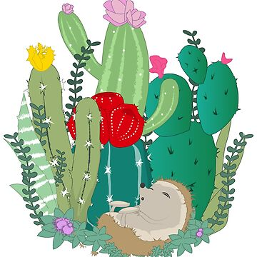 Sleeping hedgehog in a cactus family by masatomio