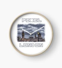 PIXEL LONDON with pixel font Clock