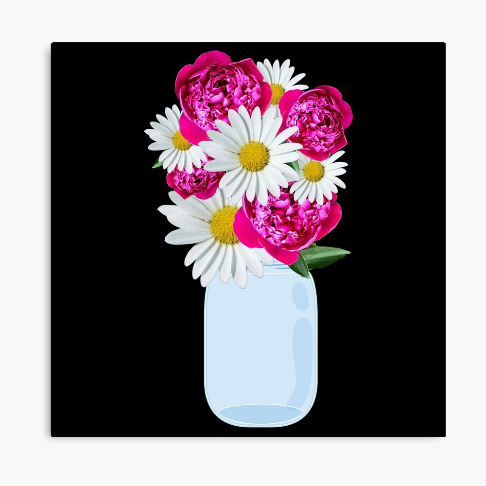 Definitely Not Fake Flowers Canvas Print- Pastel mason Jar art
