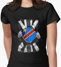 Congolese Roots - Democratic Republic Of Congo Flag Congolese Great Britain Black And White Flag Ripped Effect - Gift For Congolese Women's Fitted T-Shirt