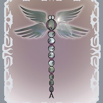 Angel Wings Dragonfly of Light with Pink Accents by StrollThruDream