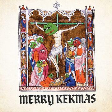 Medieval Pepe The Frog Quote Merry Kekmas Kekistani Christmas Greeting Card with Jesus PepetheFrog Rare Pepe by iresist
