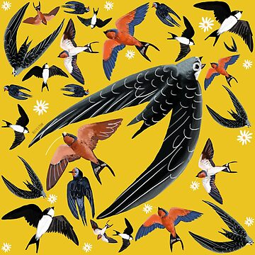 Swallows and swift pattern (Yellow) by belettelepink