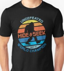 Bigfoot Hide and Seek Champion Distressed Graphic Unisex T-Shirt