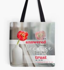 1 Chronicles 5:20 Bible Verse Spring Tulip Flower Print Tote Bag