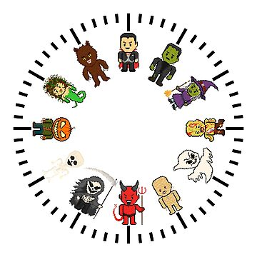 Pixel Halloween Monster Clock by gkillerb