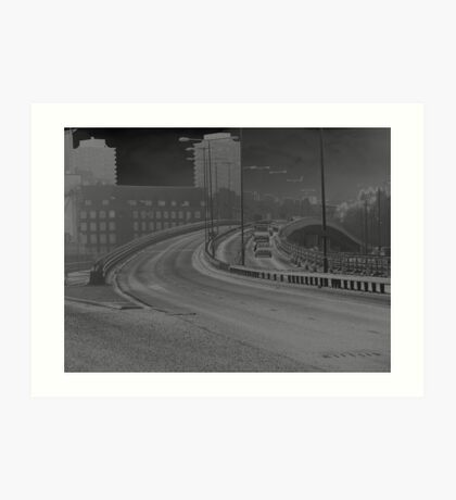 Solarised Photograph of the motorway ramp Art Print