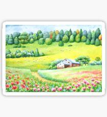 Sunny countryside landscape Sticker