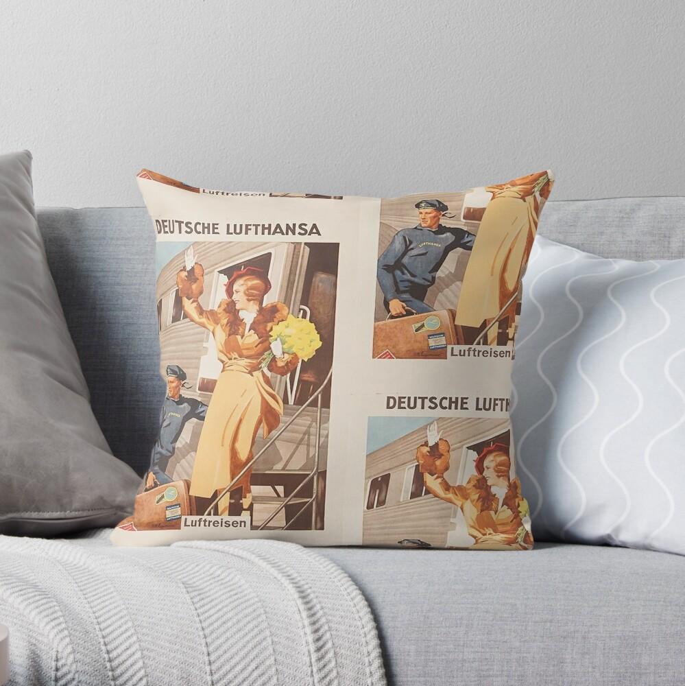 Luftreisen.. Vintage Lufthansa Ad.. circa 1930 Throw Pillow