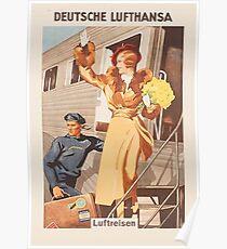 Luftreisen.. Vintage Lufthansa Ad.. circa 1930 Poster