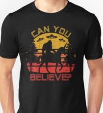 Can You Believe Bigfoot Is Riding A Unicorn UFO Graphic Unisex T-Shirt