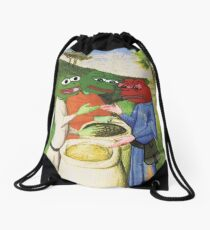 Medieval Pepe The Frog Libertarian Ancap FREE MARKET with Kekistanis trading together Rare PepetheFrog Renaissance HD Drawstring Bag