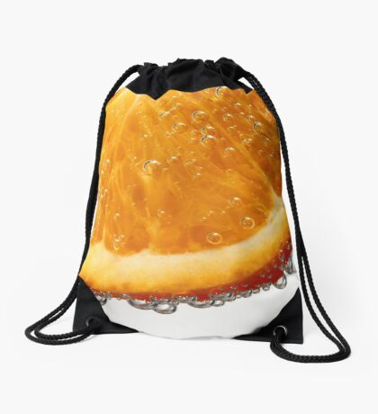 Orange in bubbles Drawstring Bag