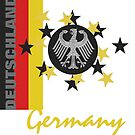 German Flag with Stars and German Eagle  by edsimoneit