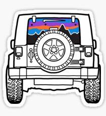 Pegatina Neumático Jeep con puesta de sol y montañas