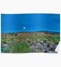 Moon over the desert Poster