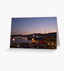 Summer Evening Port Life in the Mediterranean (Ermoupolis) Greeting Card