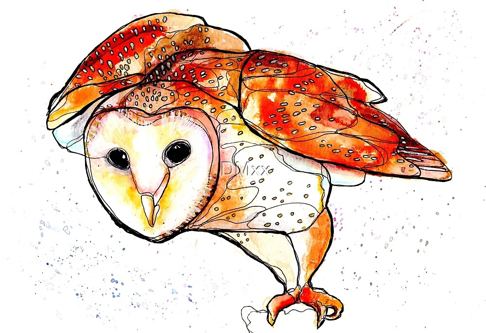 Birds in INK ~ Owl II by DMxx