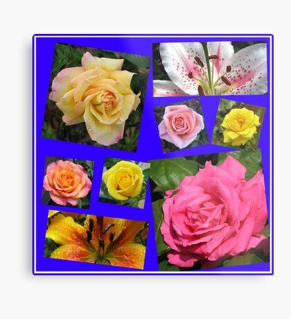 Rosen und Lilien Collage Metallbild