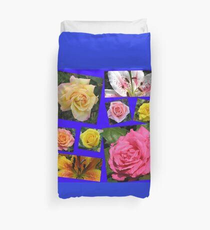 Rosen und Lilien Collage Bettbezug