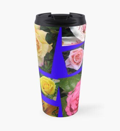 Rosen und Lilien Collage Thermosbecher