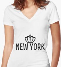 New york crown Women's Fitted V-Neck T-Shirt