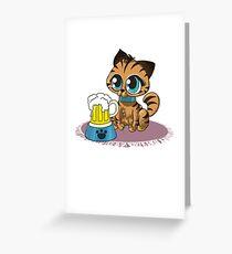 Oktoberfest Cat Beer Lederhosen Bier Germany Greeting Card