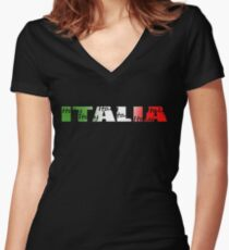 Camiseta entallada de cuello en V Italia