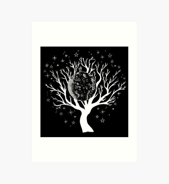Nightscape Tree of Life - White Print by georgiamason