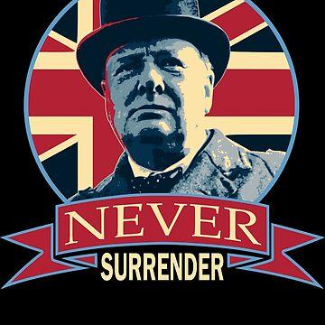 Winston Churchill Never Surrender Union Jack Banner Pop Art by idaspark