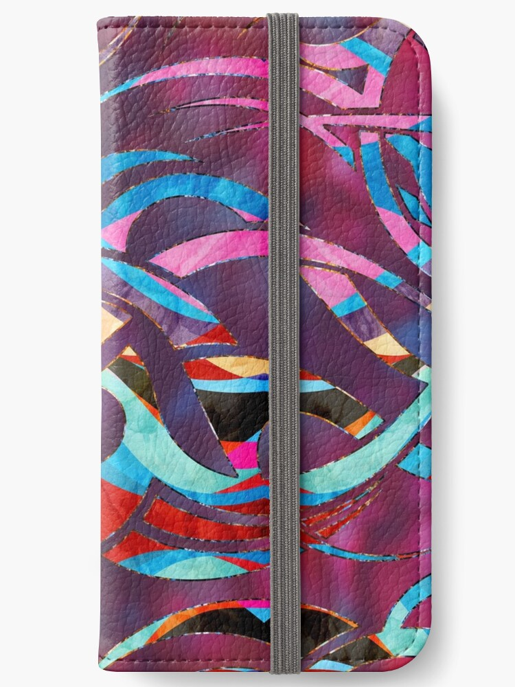 Colorful Abstract Maori Curve Shapes Iphone Wallet By Nartissima
