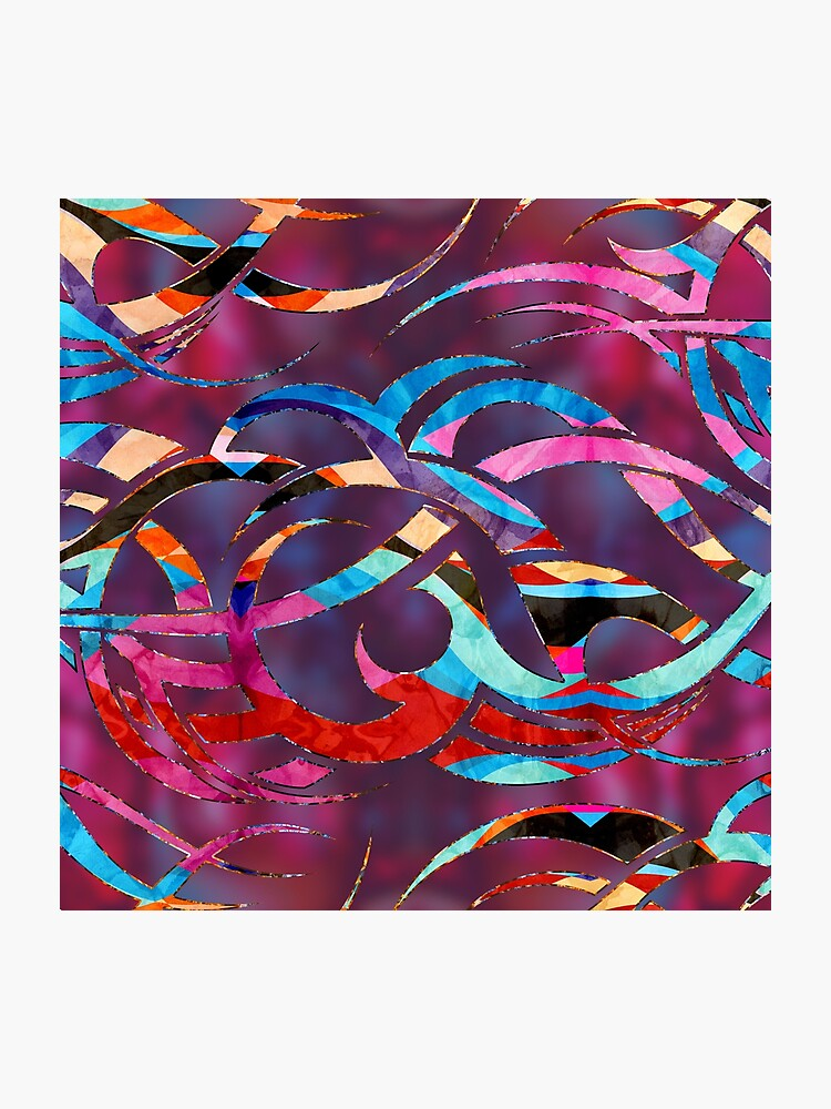 Colorful Abstract Maori Curve Shapes Photographic Print