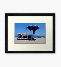 Sunbed Seaview Framed Print