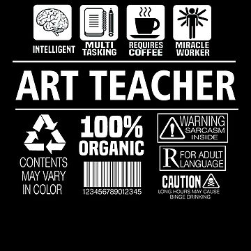 Art Teacher Funny Job Nutrition Facts School Educator Definition by JapaneseInkArt