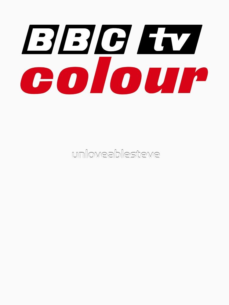 Logotipo retro en color de la BBC, como se ve en el Centro de Televisión de unloveablesteve