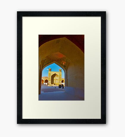 Through The Arches - Vakil Mosque - Shiraz - Iran Framed Print