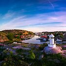 Sunset over old fishing port - Aerial Photography by Nicklas Gustafsson