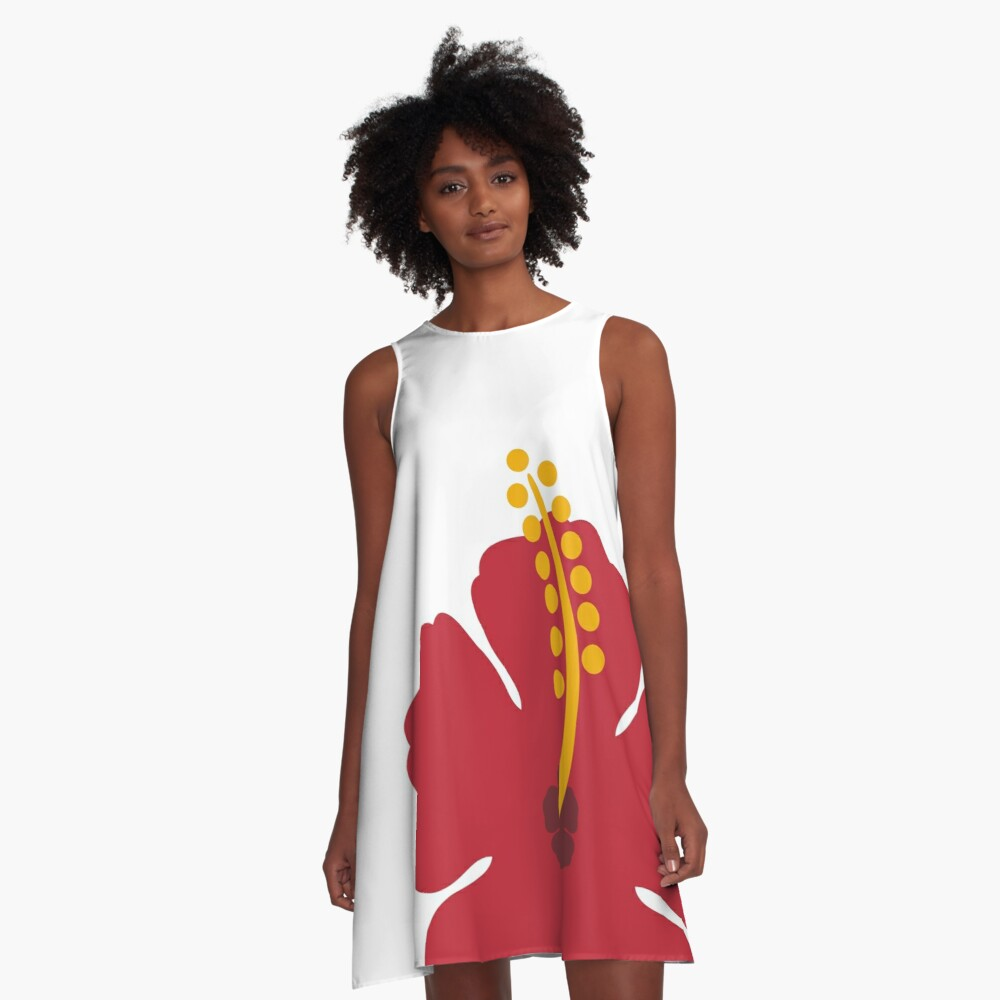 Red Hibiscus Flower A-Line Dress